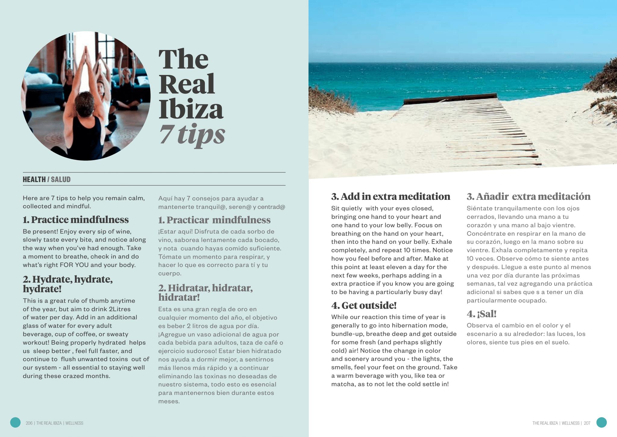 The Real ibiza. Wellness, 7 tips/Bienestar, 7 consejos