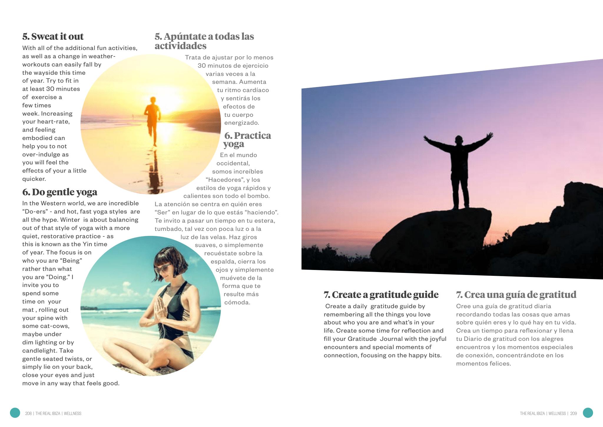 The Real Ibiza. Wellness, 7 tips. Bienestar, 7 consejos.